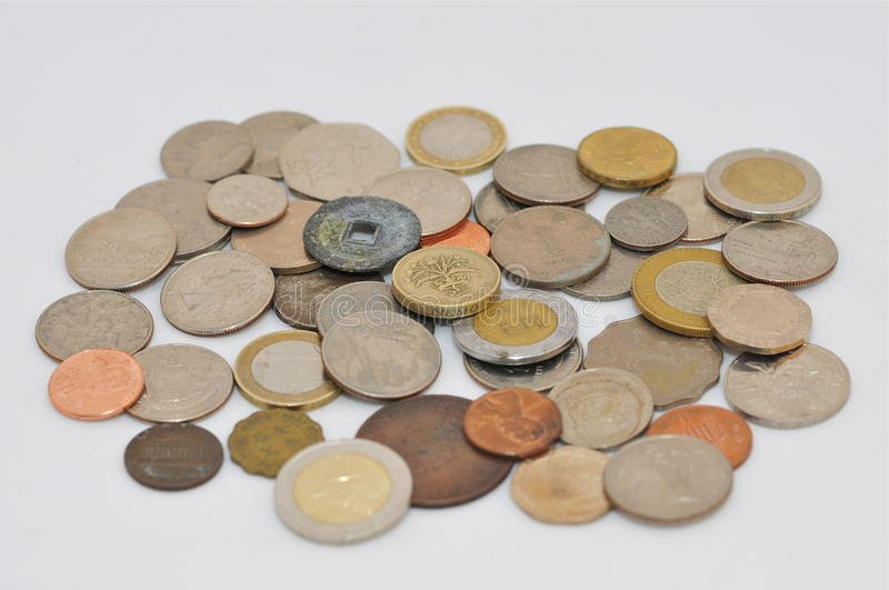 Various Coins. Different in age, origin and denomination royalty free stock images