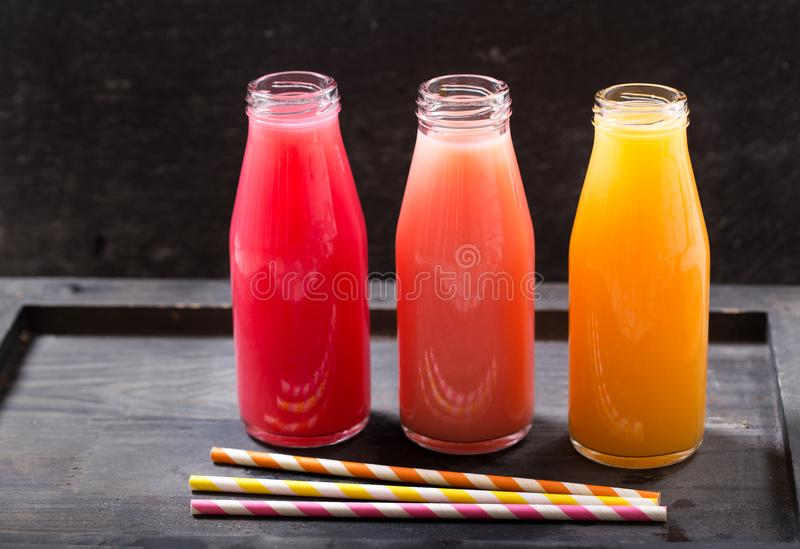 Various cold drinks in a botlles royalty free stock photography