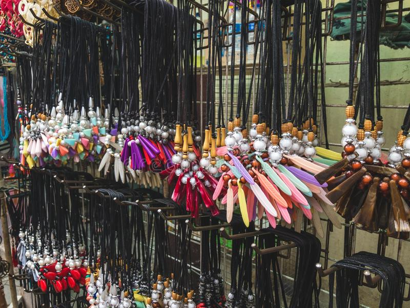 Various Collection of Bead Necklace on The Display by Street Seller Market. stock photos