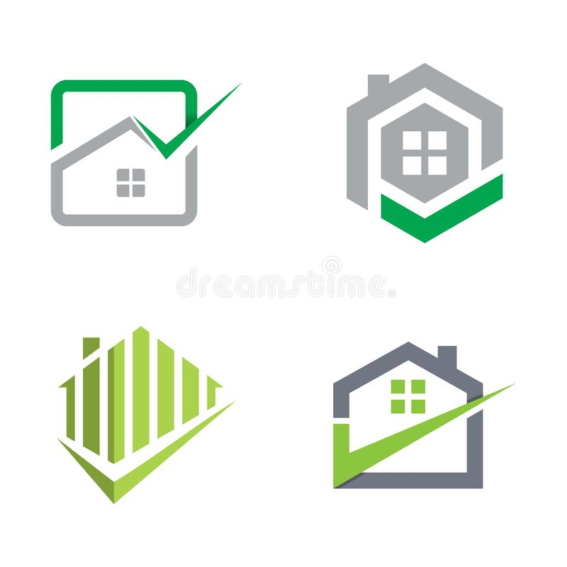 Set of real estate logo collection vector. Various collection of Real estate or realty logo design company on various styles design royalty free illustration