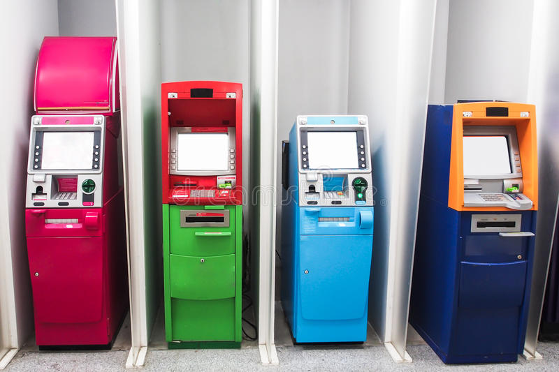 Various color ATM. Various color Automated teller machine ATM stock image