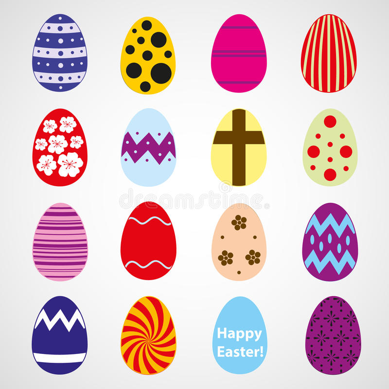 Various color Easter eggs design collection. Eps10 stock illustration