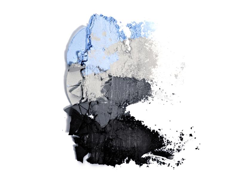 Eyeshadow palette. Various color eyeshadow smears on white background. Neutral eyeshadow palette. Blue, gray and black smudged cosmetics product. Makeup royalty free stock image