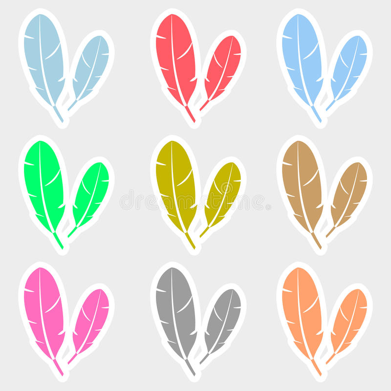Various color feathers symbols stickers set. Eps10 stock illustration