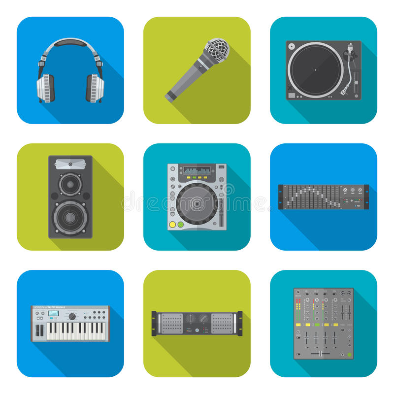 Various color flat style sound devices icons set vector illustration