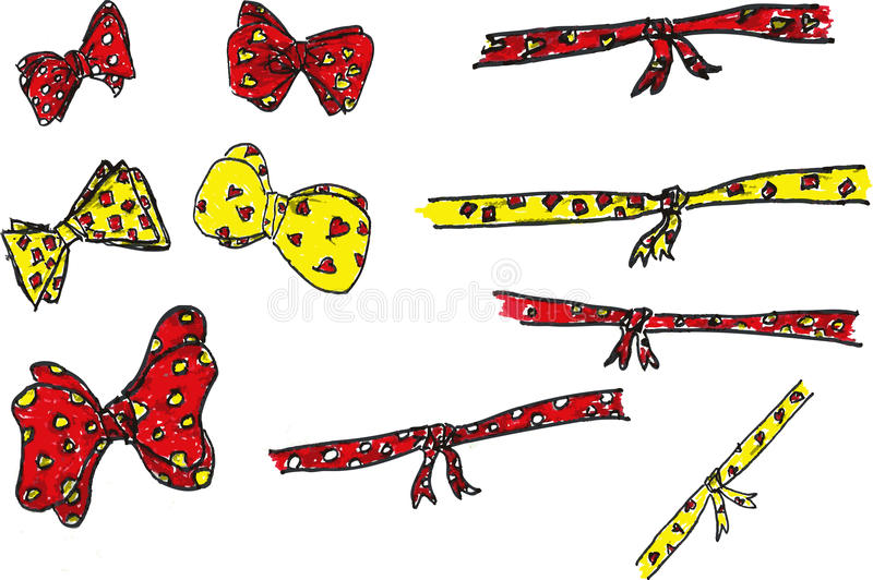 Various Color Knot Tapes. At white royalty free illustration