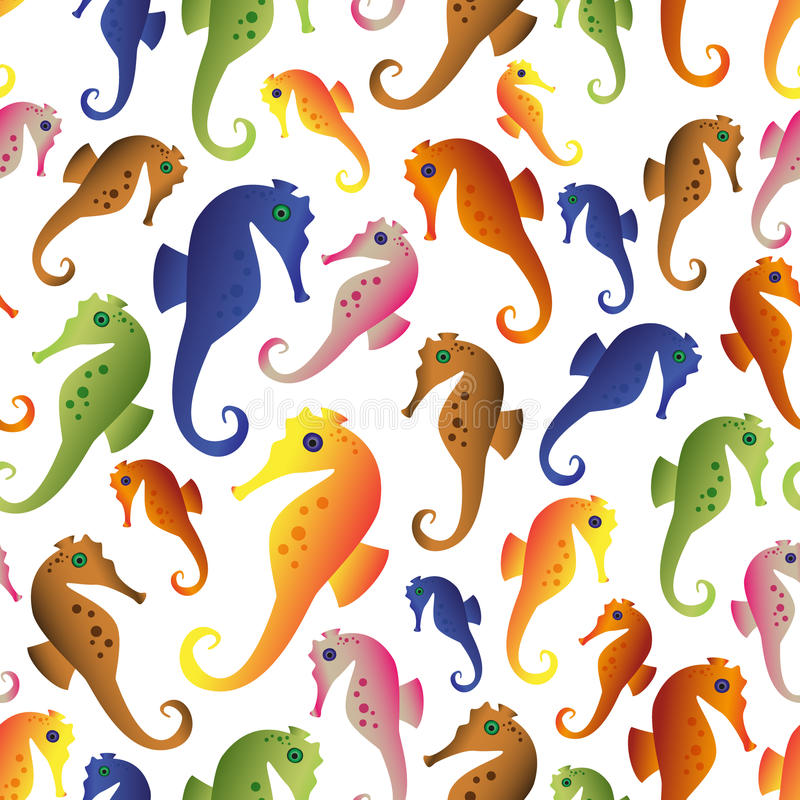 Various color seahorses icons set seamless pattern eps10 royalty free illustration