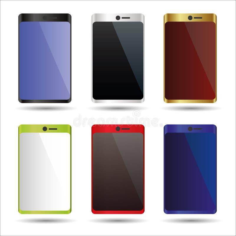 Various color smart phones mock up symbols. Eps10 vector illustration