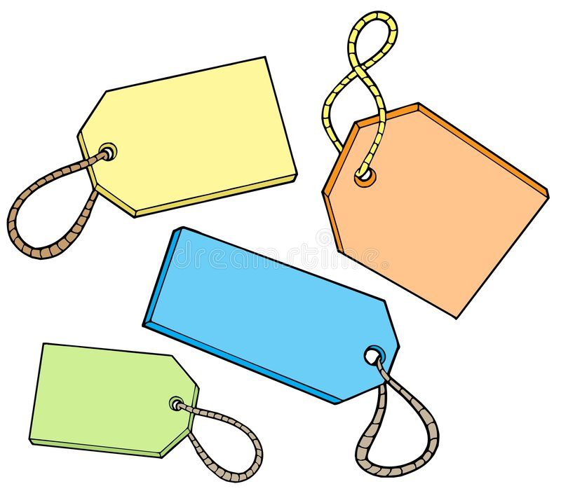 Various color tags for sale stock illustration