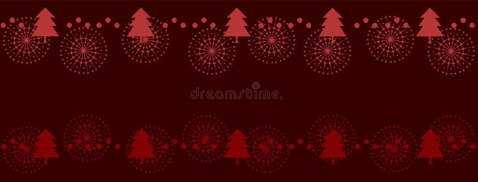 Elegant red Christmas design with trees and snowflakes. Festive Merry Christmas banner. royalty free illustration