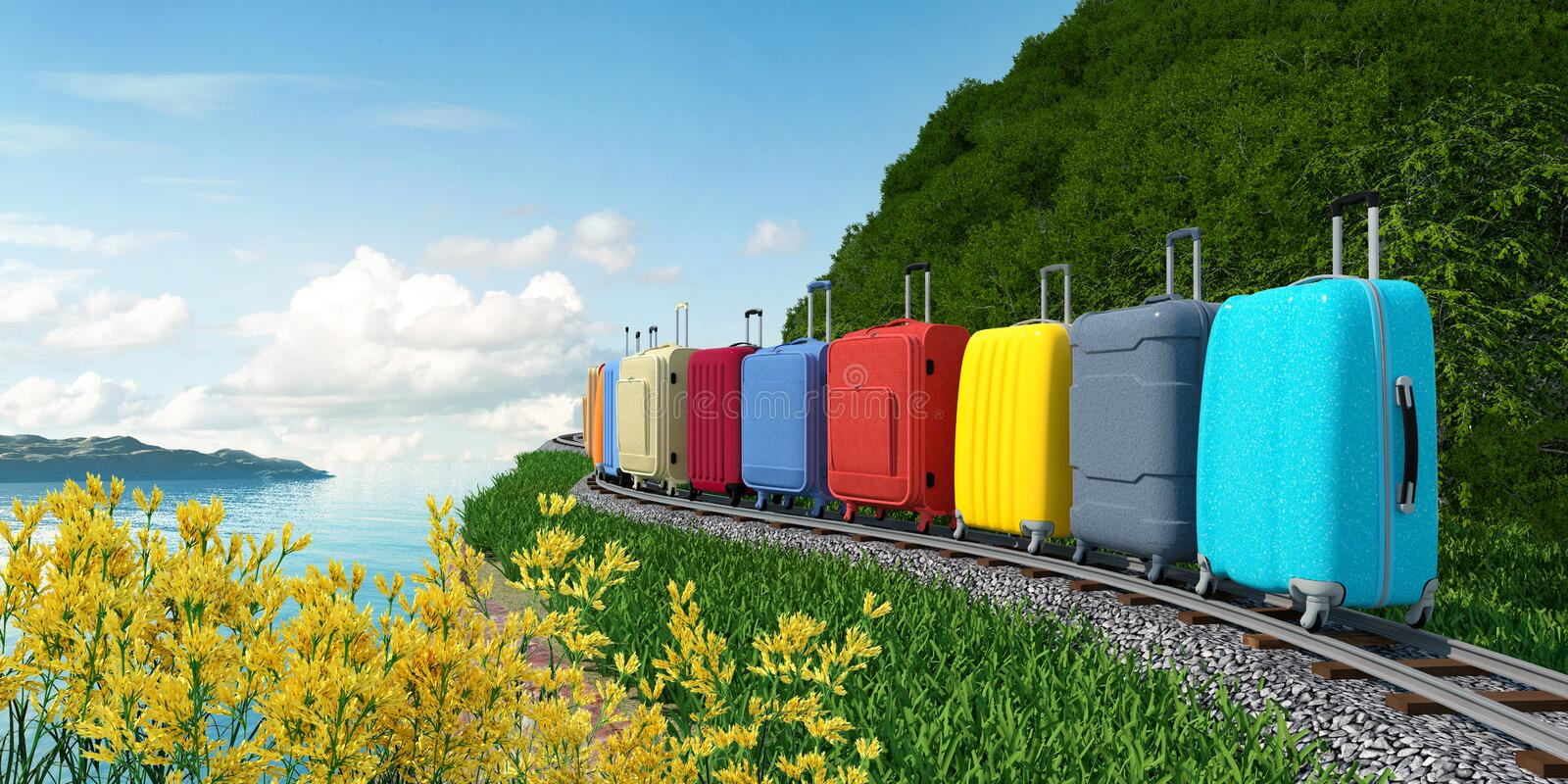 Travel suitcases go on rails to the sea on vacation. Various colored suitcases go on rails one after another. South road to the sea. The metaphorical image of a royalty free stock photos