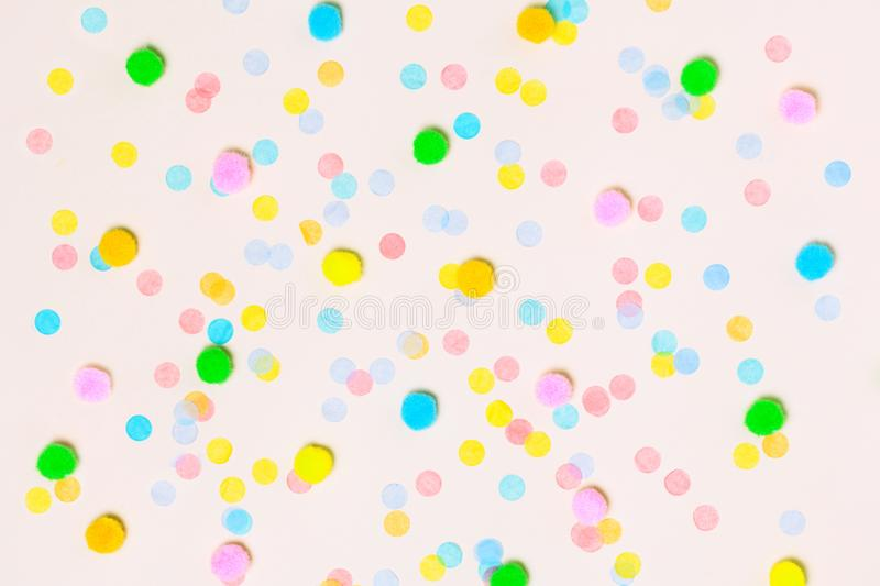 Various colorful confetti background stock photography