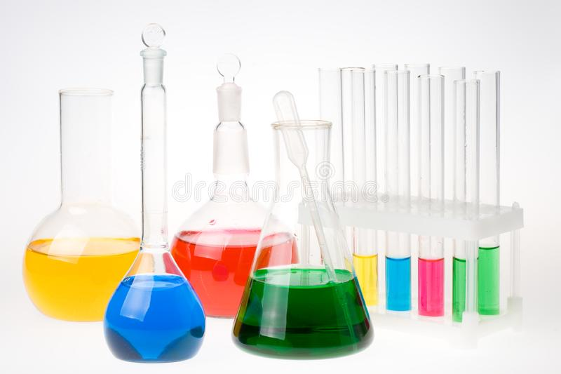 Various colorful flasks royalty free stock image