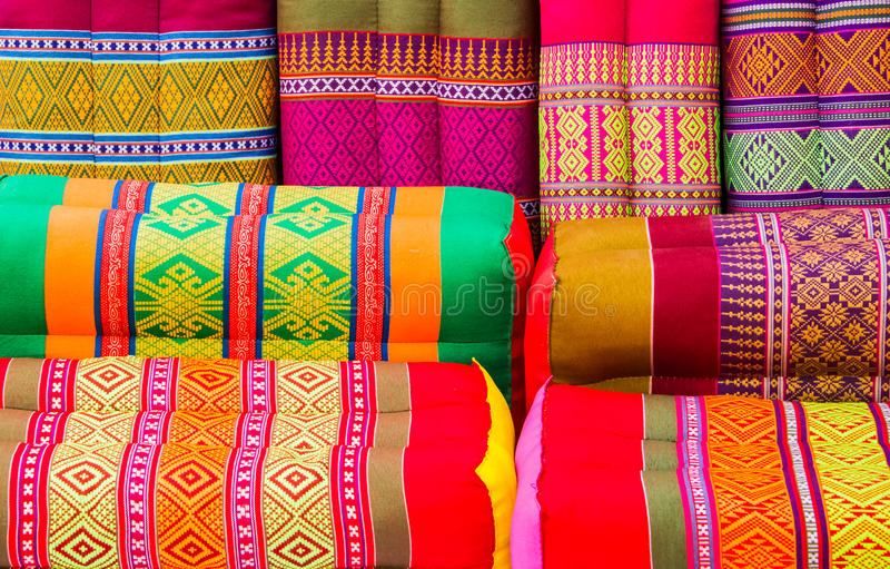 Various colorful pillow. Various colorful Thai style pillow design background royalty free stock photography
