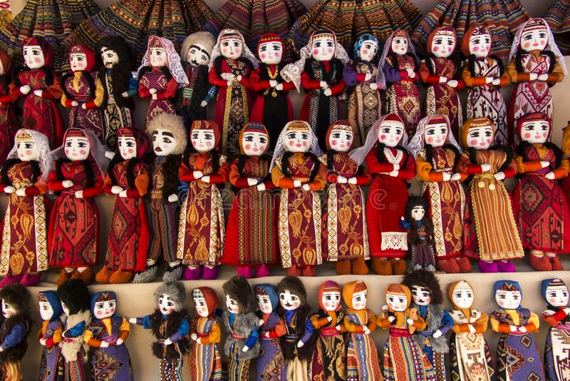 Colorful rag dolls as souvenirs from Armenia royalty free stock photography