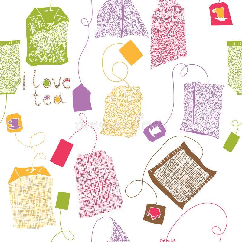 Various colorful tea bags print royalty free illustration