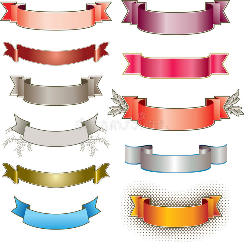 Various colourful banners royalty free illustration