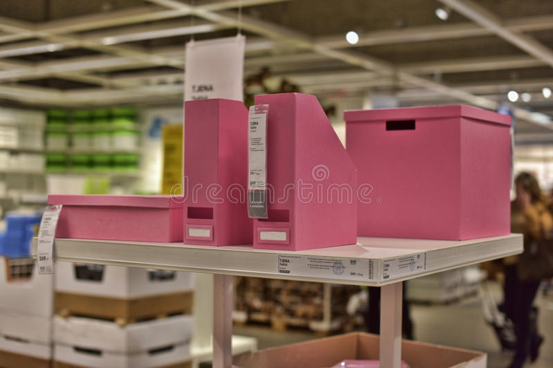 Various containers and boxes for storage. In a store Ikea, St. Petersburg Russia stock image