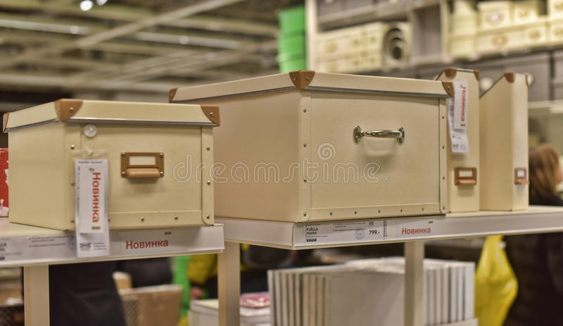 Various containers and boxes for storage. In a store Ikea, St. Petersburg Russia royalty free stock photo