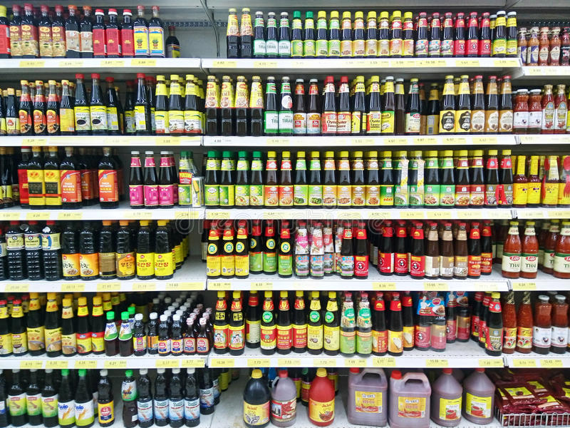 Various of cooking sauce sold in supermarket royalty free stock image