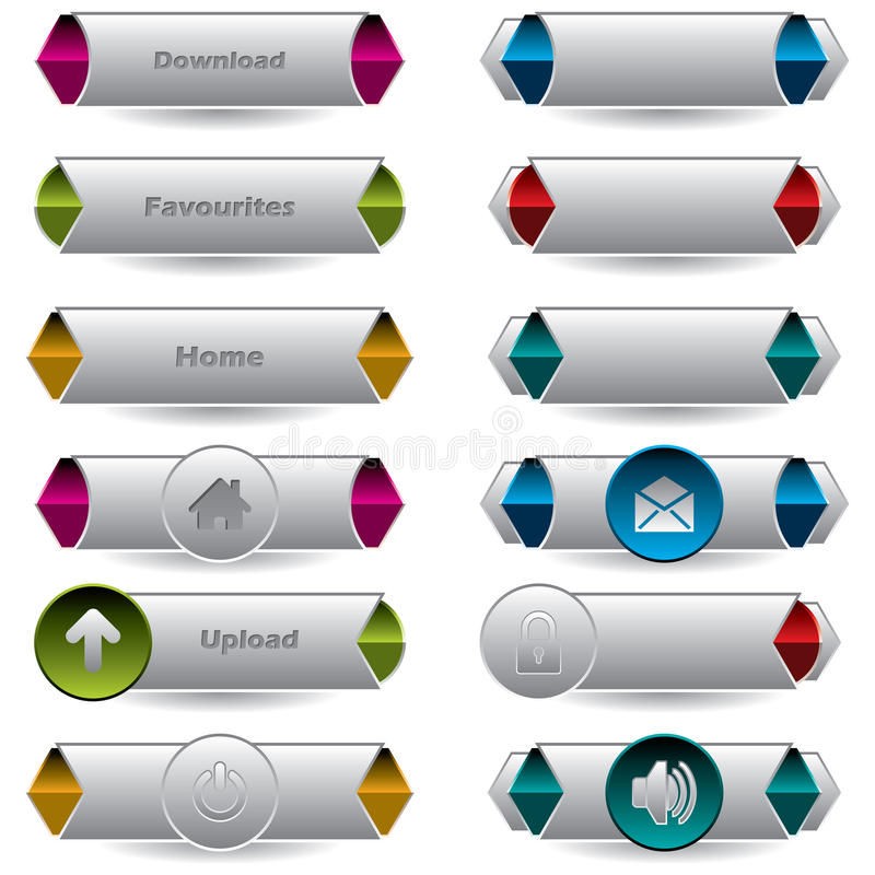 Various Cool New Buttons With Shadows Royalty Free Stock Photo