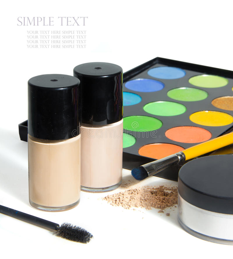 Various Cosmetics isolated on white background royalty free stock images