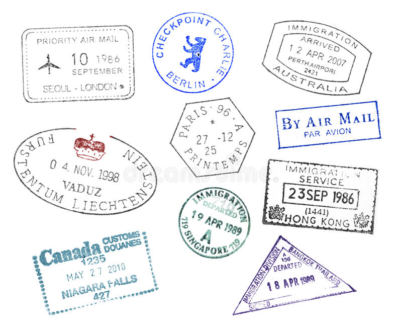 Various countries passport stamps vector illustration