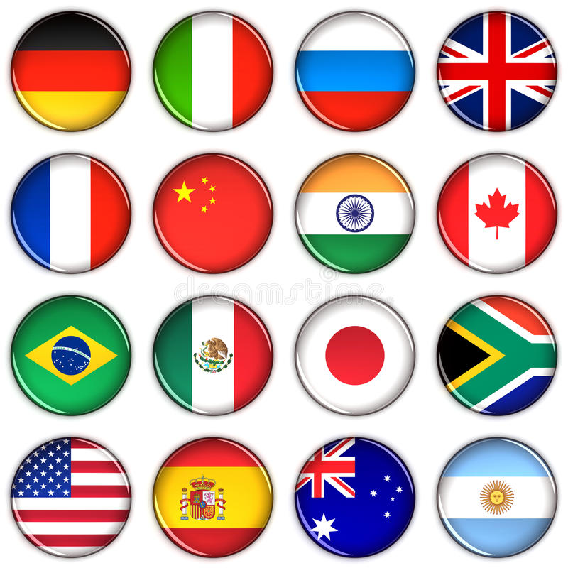 Various country buttons stock illustration