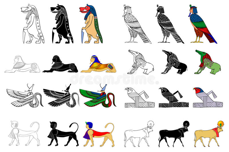 Various creatures of the ancient Egyp. T isolated on white background vector illustration