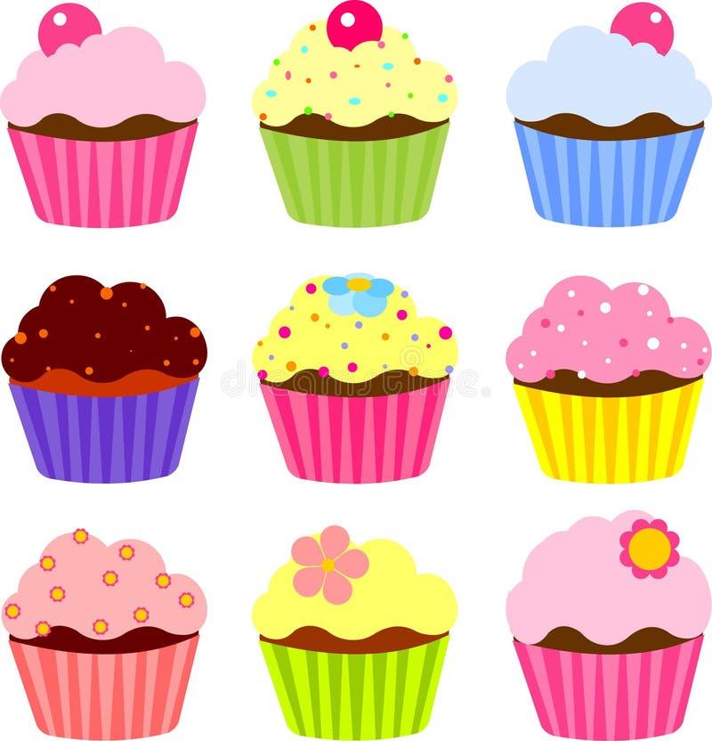 Various cupcake royalty free illustration