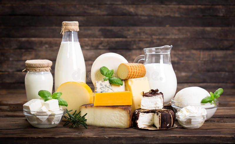 Various dairy products stock photos