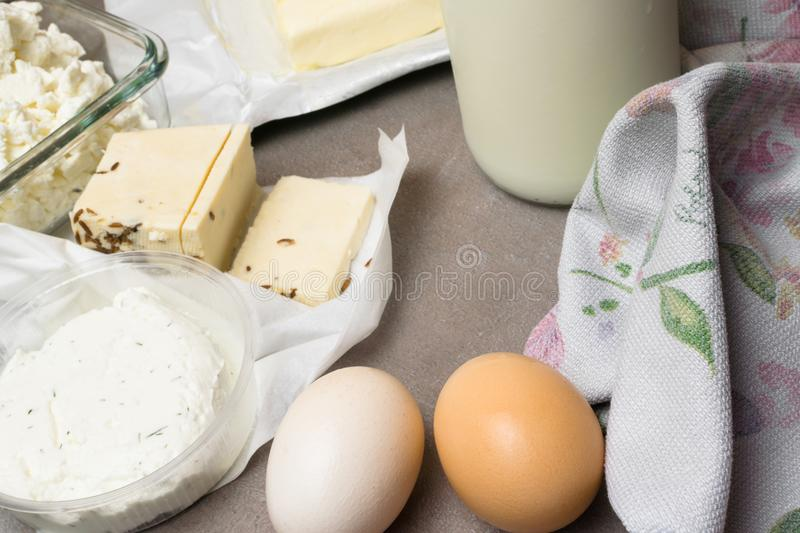 various dairy produkt on grey table stock images