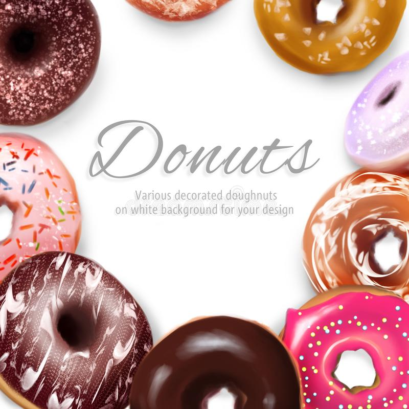 Various decorated doughnuts frame royalty free stock photo