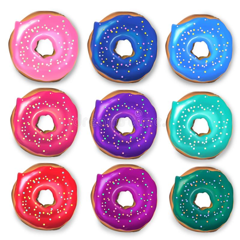Various decorated doughnuts on isolated background stock images
