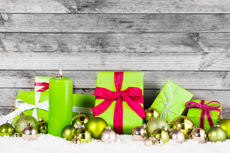 Various Decors For Green Christmas Theme royalty free stock photography