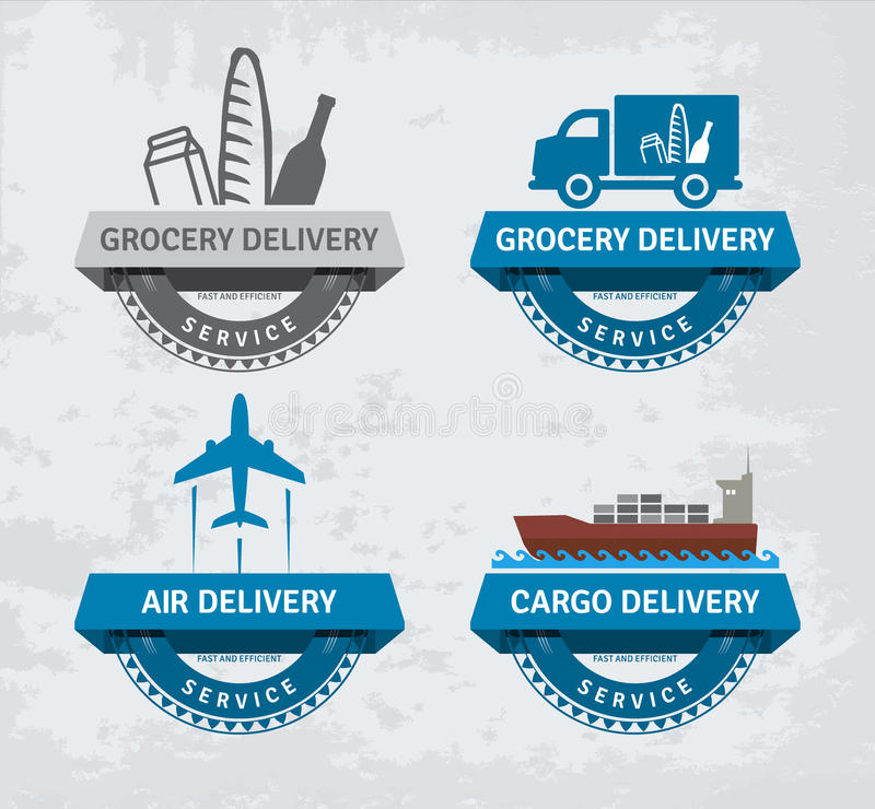 Various delivery labels royalty free illustration