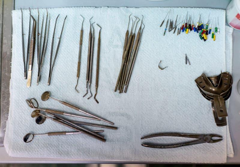 Various dental instruments flat lay stock photos