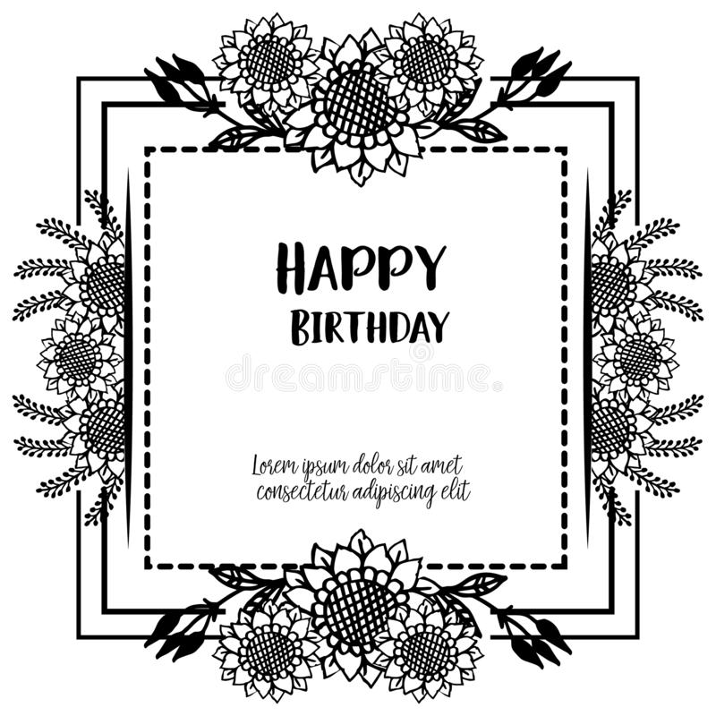 Various design card happy birthday, texture beautiful flower frame, isolated on a white backdrop. Vector. Illustration stock illustration