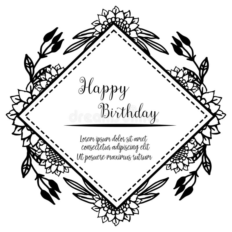 Various design card happy birthday, texture beautiful flower frame, isolated on a white backdrop. Vector. Illustration royalty free illustration