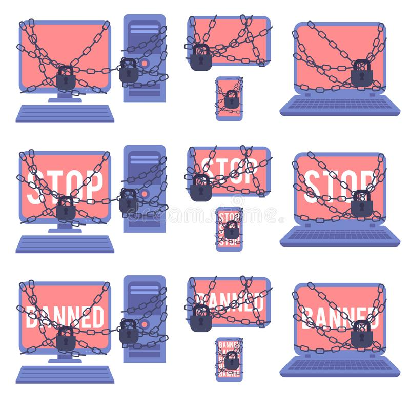 Various devices banned for illegal actions on web network set. vector illustration