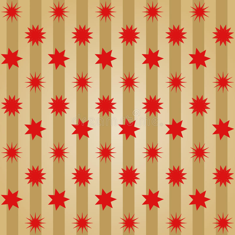 Various different red stars offset in rows on golden stripes stock illustration