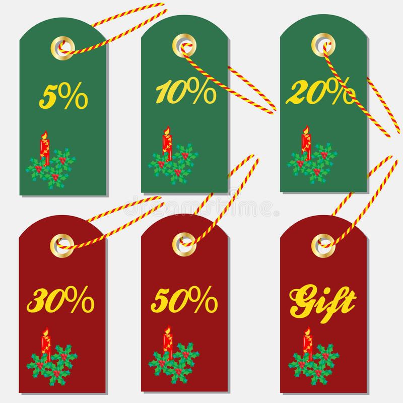 Various discount tags & labels with Christmas symbols. Colorful candle and leaves and Holly berries vector illustration