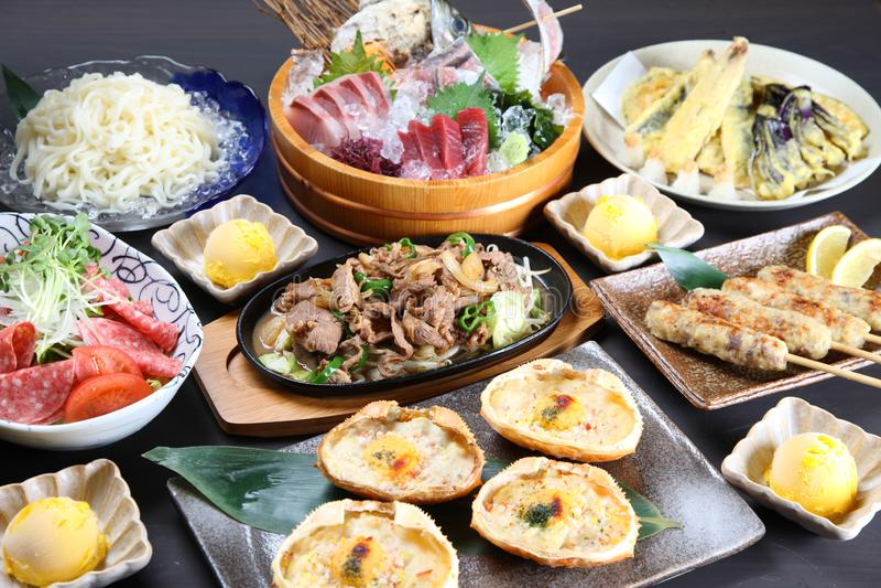 Various dishes of Japanese Izakaya menu stock images