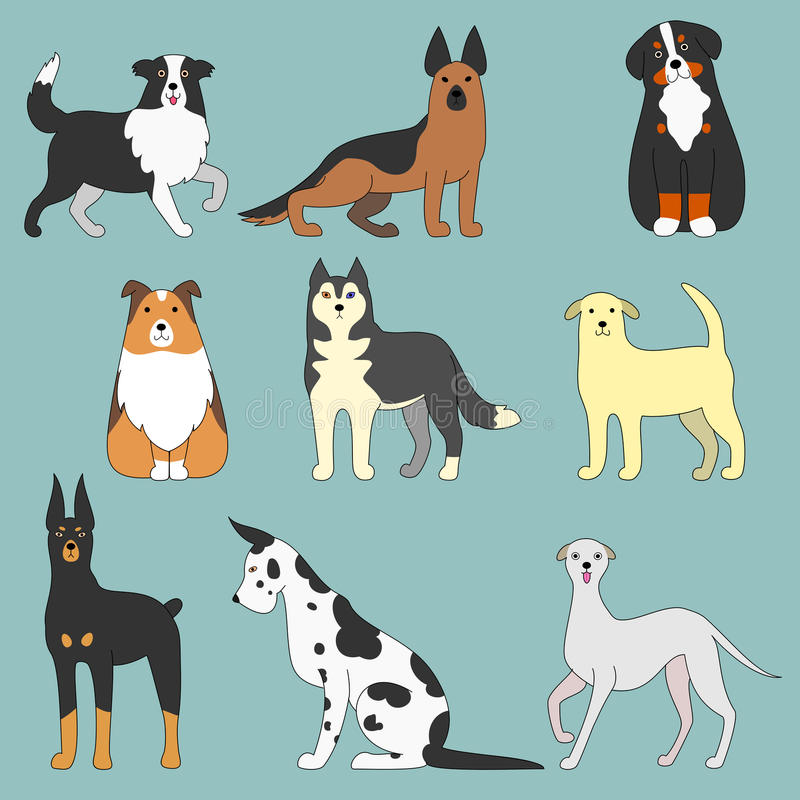 Various dogs stock illustration