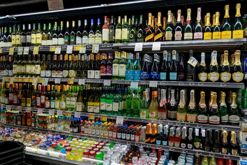 Various drinks on display in a convenience store in Las vegas strip. Las Vegas, Nevada - May 27, 2018 : Various drinks on display in a convenience store in Las stock images