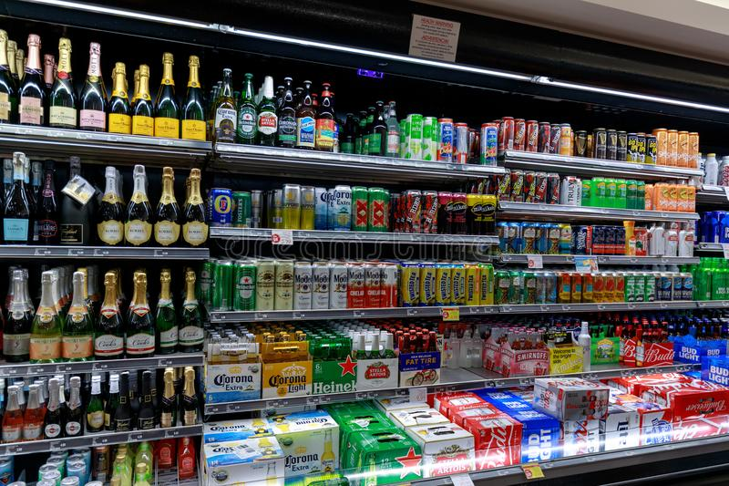 Various drinks on display in a convenience store in Las vegas strip. Las Vegas, Nevada - May 27, 2018 : Various drinks on display in a convenience store in Las royalty free stock photos