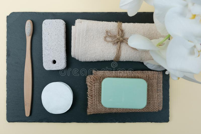 Various eco friendly spa treatment and wellness procucts. Different personal hygiene objects. Environmental awareness and beauty royalty free stock photos