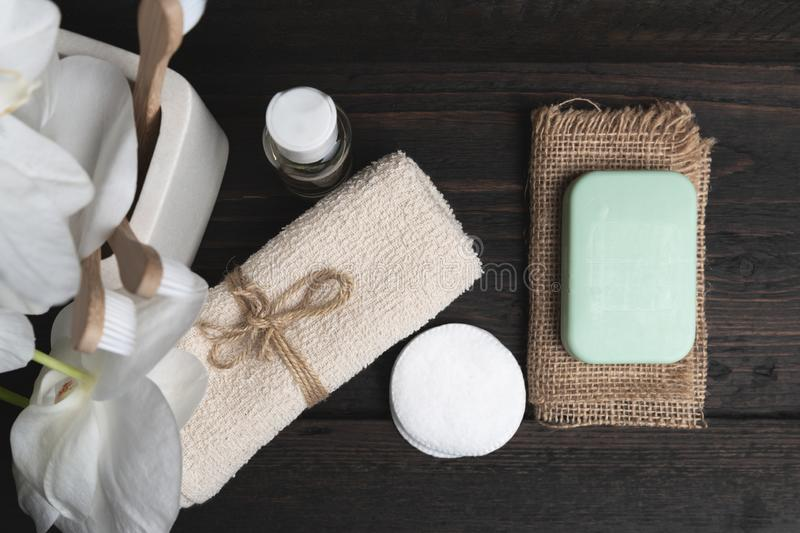 Various eco friendly spa treatment and wellness procucts. Different personal hygiene objects. Environmental awareness and beauty royalty free stock images