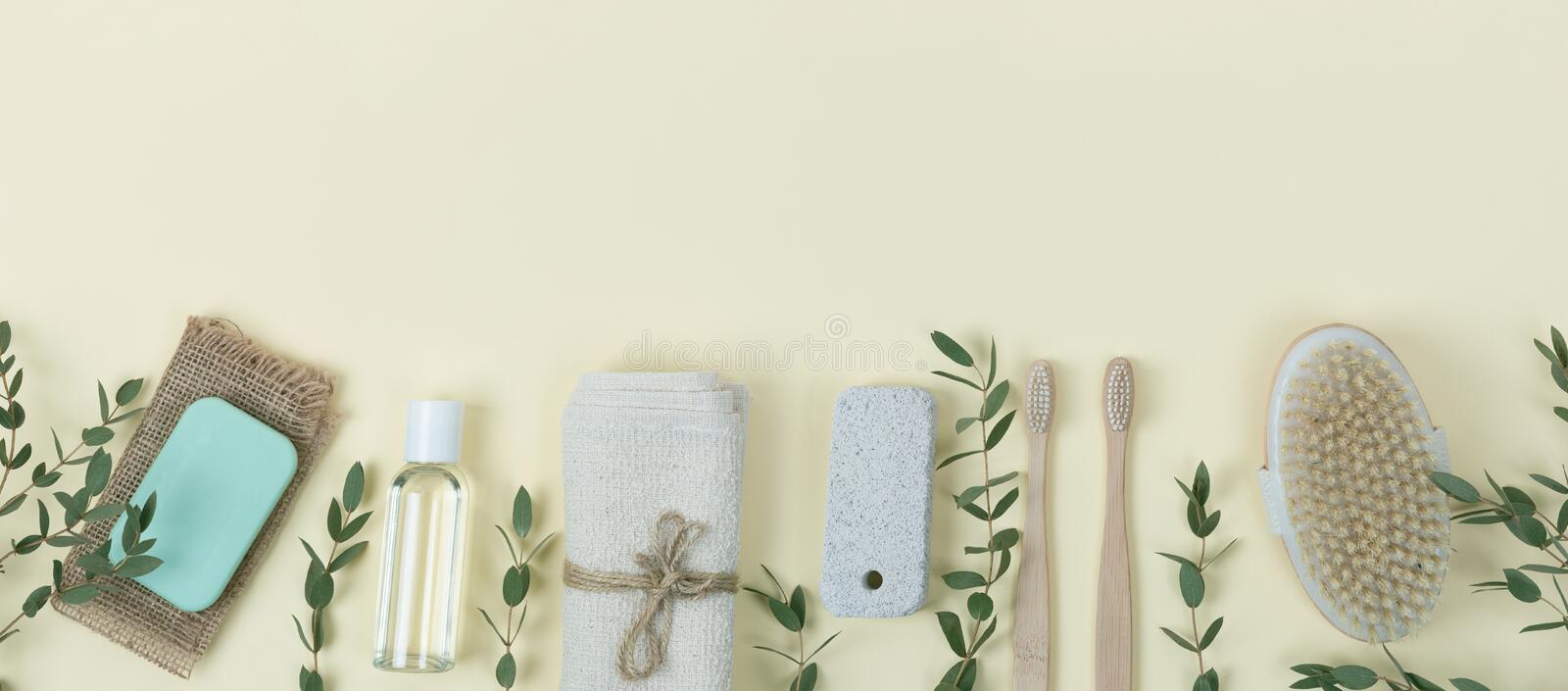 Various eco friendly spa treatment and wellness procucts. Different personal hygiene objects. Environmental awareness and beauty royalty free stock image