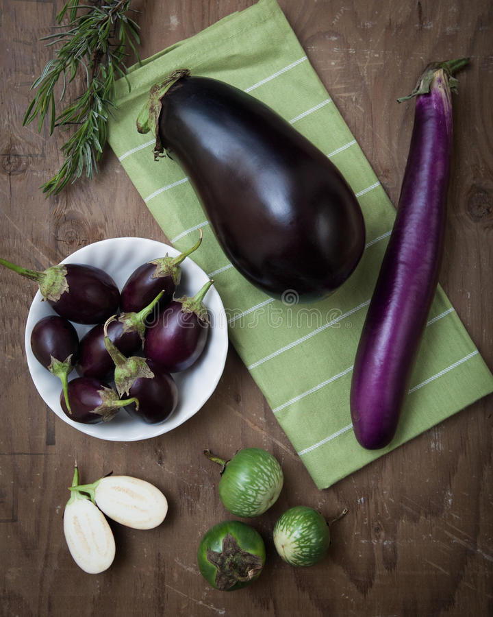Various Eggplants stock photo